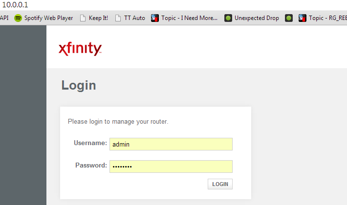 10 0 0 1 Xfinity: login page, admin, password, how to configure WiFi