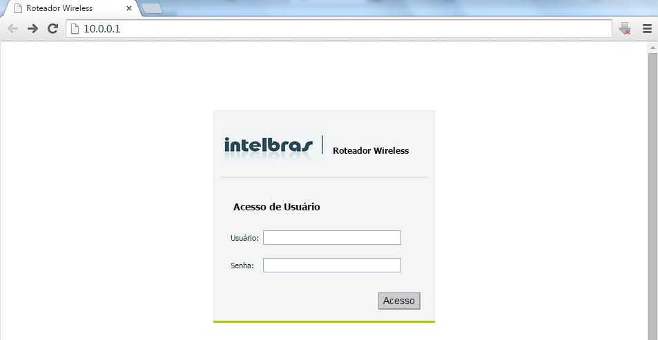 login no roteador intelbrás